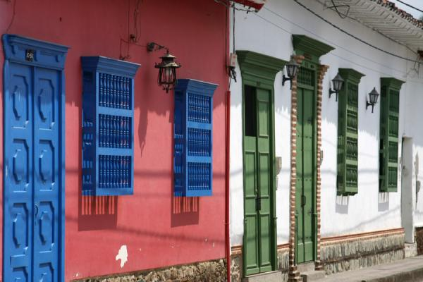 Picture of Brightly coloured window guards and doors are typical of Santa Fé de Antioquia