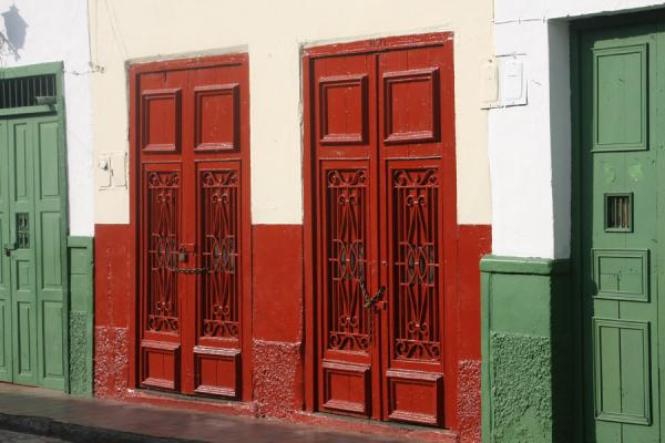 Picture of Brightly coloured red and green doors