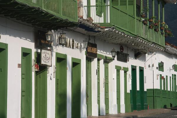 Picture of Typical green door frames right on the main square of Santa Fé de Antioquia