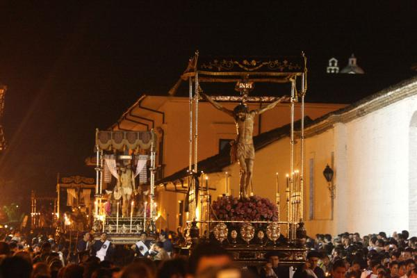 Picture of Good Friday or Viernes Santo procession inevitably includes the crucifixion of Jesus