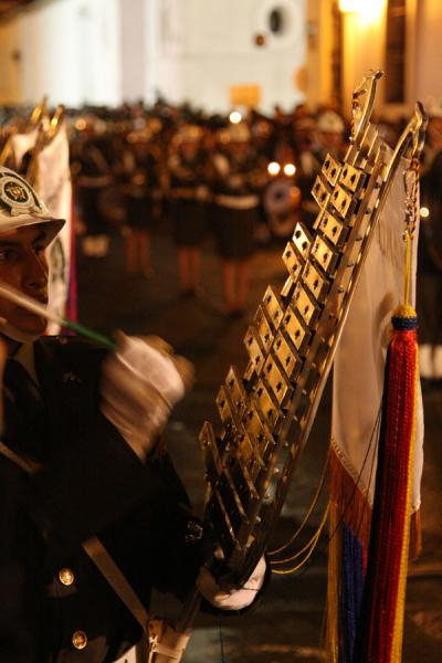 Picture of Playing the xylophone: militar band making music as part of the Semana Santa procession