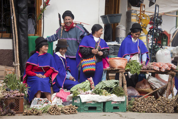 Picture of Guambiano people in their traditional dress at the Tuesday market of Silvia