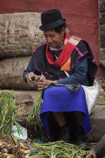Guambiano man preparing his vegetables to be sold - 哥伦比亚