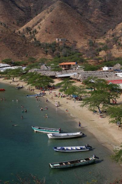 Playa Grande with boats, walking distance from Taganga | Taganga | Colombia