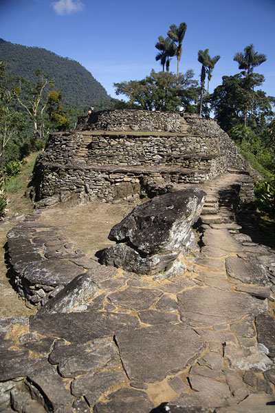 String of stone platforms at the higher part of the central section of the Lost City, or Ciudad Perdida | Teyuna | Colombia