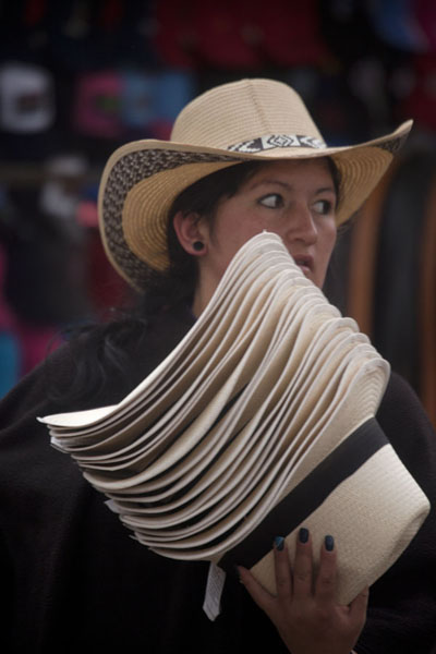 Picture of Woman selling hats at the market of Villa de Leyva