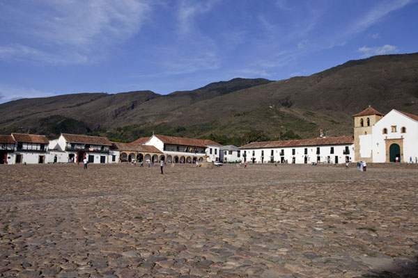 Picture of View towards the east across the cobble stone Plaza Mayor of Villa de Leyva - Colombia - Americas