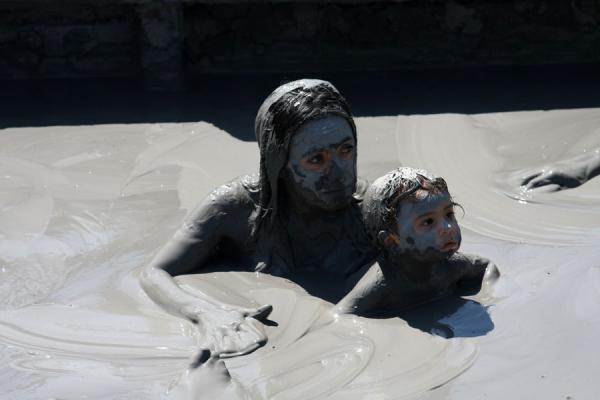 Woman and child covered in mud at Volcano Totumo | Totumo Volcano | Colombia