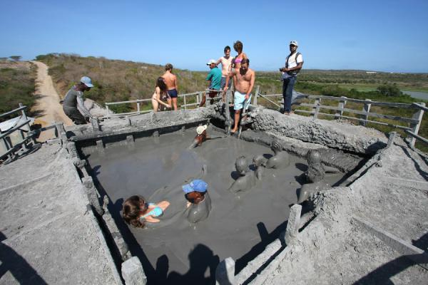 Picture of Totumo Volcano (Colombia): Crater of mud volcano with visitors