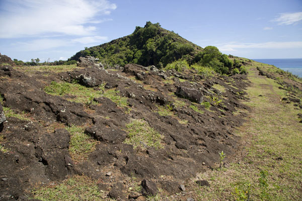 Picture of Lava crater rim with the sea in the backgroundLac Salé - Comoros