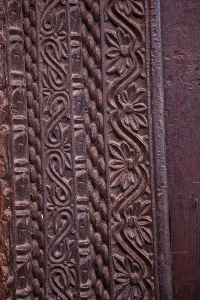 Picture of Close-up of the carvings of a wooden door in the medina of MutsamuduMutsamudu - Comoros