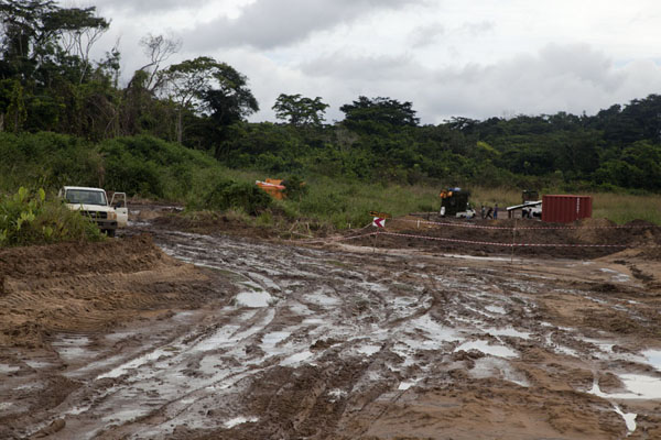 Picture of Vaga border crossing (Congo): Muddy track where four vehicles got stuck for hours on end