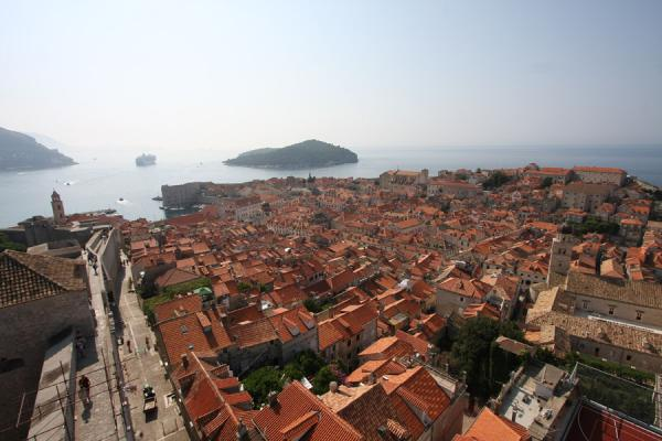 Foto di Croazia (A sea of red roofs defining the old town of Dubrovnik)