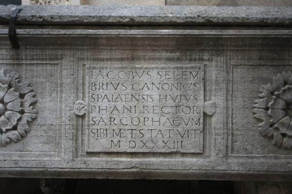 Picture of Detail of the sarcophagus at the entrance of the temple of Jupiter