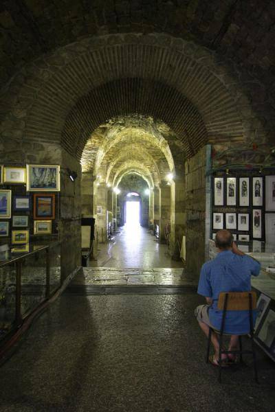 street vendor and stall in the underground basement halls diocletian