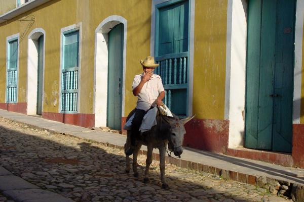 Driving down the street on a donkey | Cuban people | Cuba