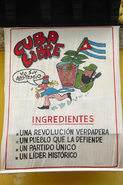 Picture of Ingredienst of Cuba libre (note the American saying: