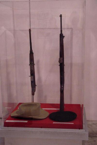 Picture of Some of his artifacts in the Museum of the Revolution (the rifle and hat on the left belong to Camilo Cienfuegos)Cuba - Cuba