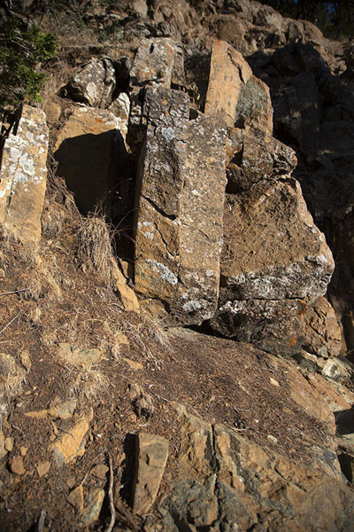 Picture of Rock formation with hartzburgite along Artemis trail