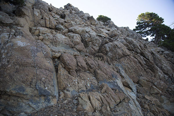 Foto van Pyroxenite dyke on the upper slopes of Mount Olympus, found on Artemis trailOlympus - Cyprus