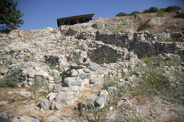Looking up the hill of Choirokoitia on which the neolithic settlement was built | Choirokoitia | Cyprus