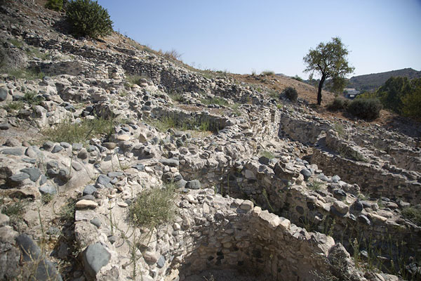 Overview of ruins cylindrical houses of neolithic times | Choirokoitia | Cyprus