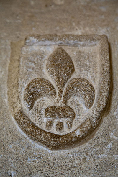 Close-up of the fleur-de-lis, coat of arms of the Magnac dynasty, the founders of Kolossi Castle | Chateau de Kolossi | Chypre