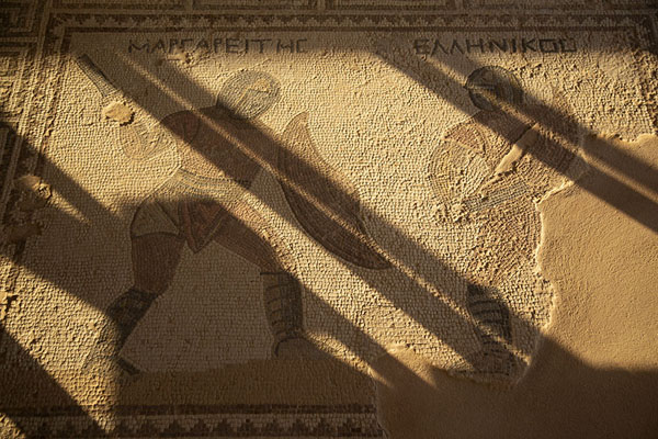Foto van Mosaic with to gladiators in the House of GladiatorsKourion - Cyprus