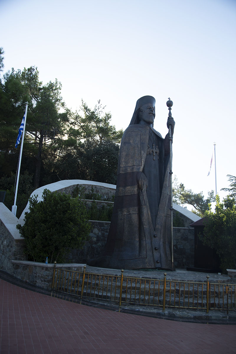 Larger-than-life statue of Archbishop Makarios III near the top of Throni hill | Tomb of Makarios | Cyprus