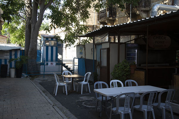 Border with checkpoint in a street with a terrace | Nicosia Green Line | Cyprus