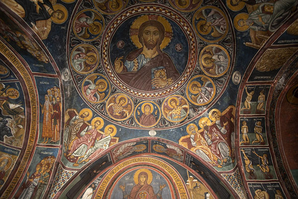 The ceiling of Panagia Phorviotissa with Christ Pantokrator | Iglesias pintadas de la región de Troodos | Chipre