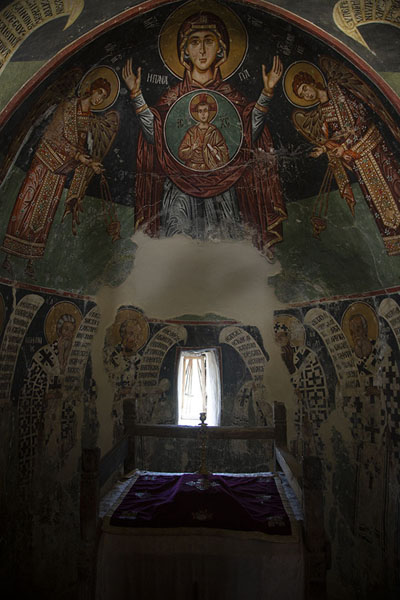 Frescoes covering the apse of Panagia church in Moutoulas | Painted churches Troodos region | Cyprus