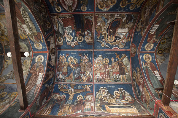 Looking up the ceiling of Panagia Phorviotissa near Nikitari | Painted churches Troodos region | Cyprus