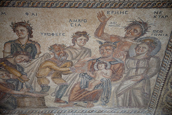 Picture of Birth of Dionysos in an intricate mosaic in the House of AionPaphos - Cyprus