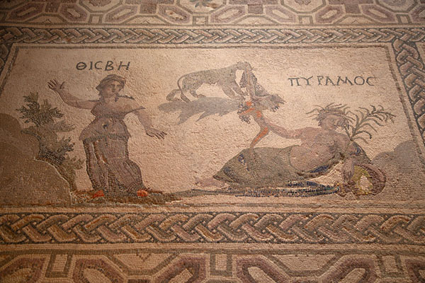 Foto van Thisbe and Pyramos, the tragic, classic love couple, depicted in a mosaic in Dionysos HousePafos - Cyprus