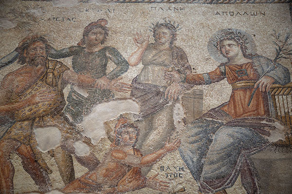 Picture of Mosaic in the House of Aion depicting a music competition between Marsyas and ApolloPaphos - Cyprus