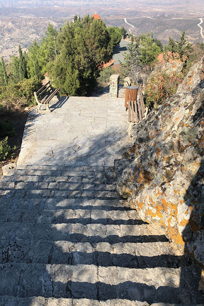 Foto van The stairs leading to the monastery of StavrovouniStavrovouni - Cyprus
