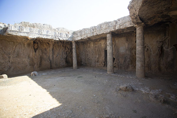 Picture of In the atrium of Tomb VII, you can still see columns and triglyphs carved out relief in the rocksPaphos - Cyprus