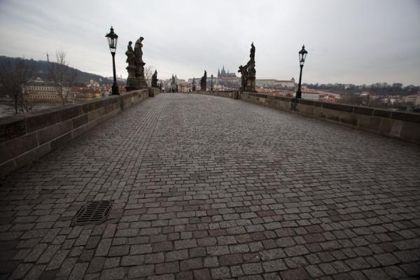 Foto van View of Charles Bridge in the early morningPraag - Tsjechië