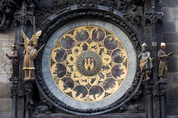 The Calendar with Chronicler, Angel, Astronomer and Philosopher | Prague Astronomical Clock | Czech Republic