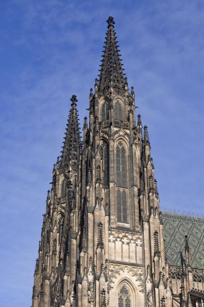Side view of the bell towers of St. Vitus Cathedral | Prague Castle | Czech Republic