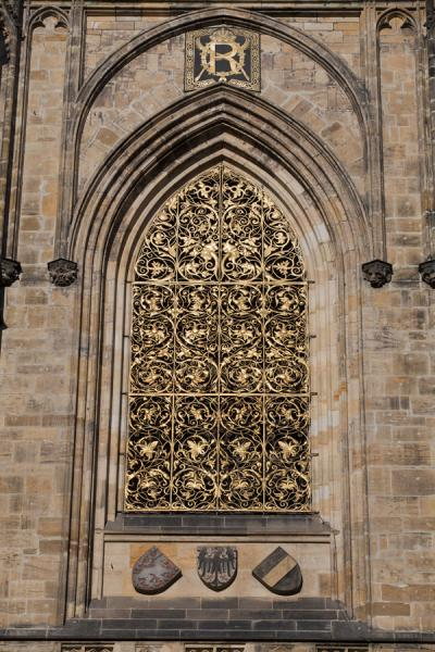 Golden gate on the outside of St. Vitus Cathedral | Prague Castle | Czech Republic