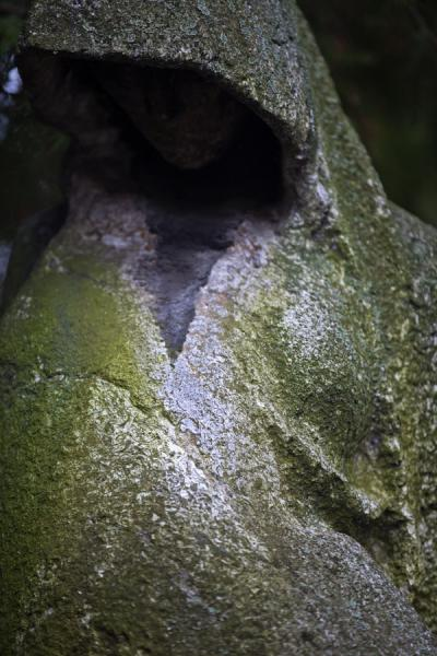 Statue of mourning woman covered in moss at Vyšehrad cemetery | Praga | Repubblica Ceca