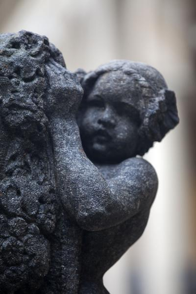 Sculpture of child at a tombstone of Vyšehrad cemetery | Vyšehrad cemetery | Czech Republic