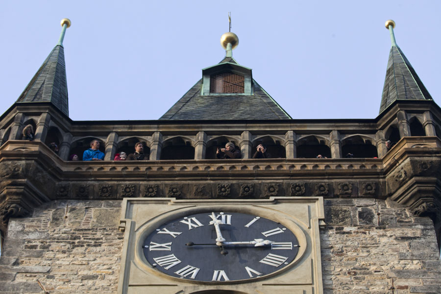 Picture of Looking up the tower on which the Astronomical Clock is locatedPrague - Czechia