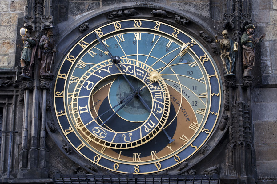 Picture of The astronomical dial indicating the current state of Earth, Moon and Sun, as well as the zodiacsPrague - Czechia
