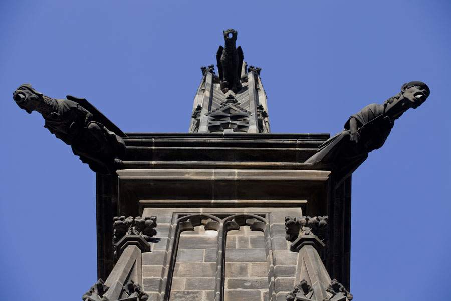 Foto di Looking up St. Vitus Cathedral with sculpted headed water guidersCastello di Praga - Cechia