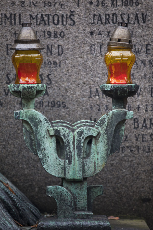Picture of Lanterns on a tomb with tombstone in Vyšehrad cemeteryPrague - Czechia