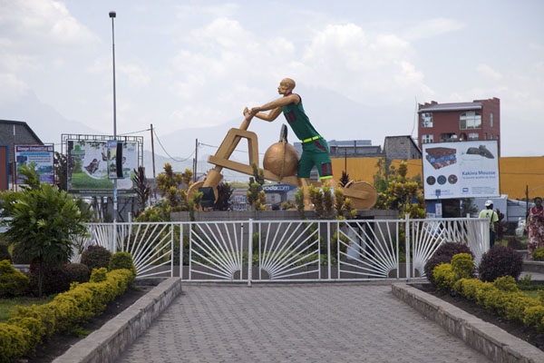 Statue of a tshukudu driver on Bralima Circle in Goma | Goma | Democratic Republic Congo