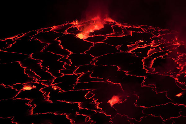 Fire erupting from the lava lake of the Nyiragongo volcano | Volcano Nyiragongo | Rep. Democratica del Congo
